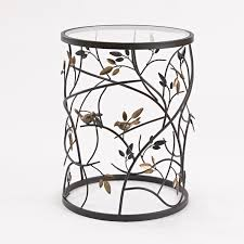 glass cylinder table l large bird and branches side table
