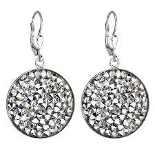 swarovski sede stříbrné náuš stříbrné náuš visací s krystaly swarovski