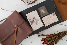 photo album with adhesive pages leather rustic album distressed custom design by blue sky papers