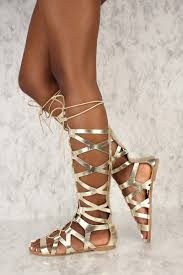 light gold open toe gladiator sandals metallic faux leather