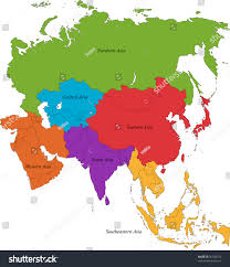 Eastern Asia Map Colorful Asia Map Six Regions Stock Illustration 36282319