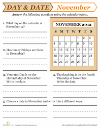 november 2017 day and date worksheets
