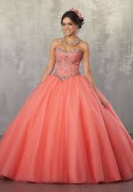quinceanera dresses coral a line strapless quinceanera dress by mori valencia 60039