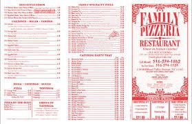 family pizzeria menu