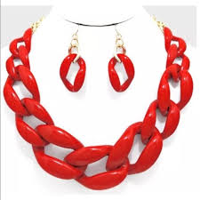 red chain link necklace images Jewelry plastic chain curb link necklace red poshmark jpg