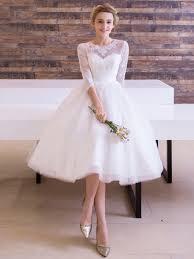Knee Length Wedding Dresses Half Sleeves Jewel Neck A Line Knee Length Wedding Dress Tbdress Com