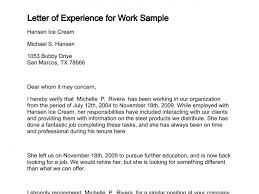 Sample Letter Of Resume To Work by Letter Of Experience