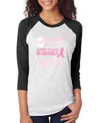 scary halloween t shirts halloween scary breast cancer deadly womens 3 4 raglan sleeve tee