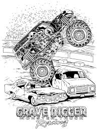 grave digger monster truck coloring pages birthday ideas