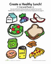 cut and paste a healthy lunch worksheet education com