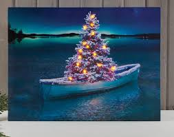 tree in row boat lighted canvas picture