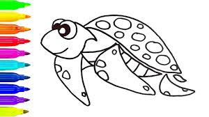 how to draw a sea turtle coloring pages animals for kids art
