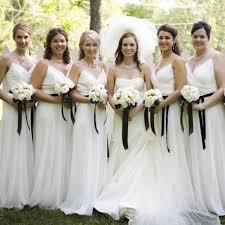 bridesmaids dress v neck white bridesmaid dress with a ribbon spaghetti straps