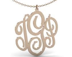 Custom Monogram Necklace Monogram Necklace Gold Etsy