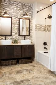 glass tile bathroom designs continue accent tile in shower to backsplash for vanity design