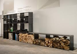 winetee wood log holder faszination in stahl shelving from