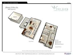 two bedroom apartments the glen the buffalo area s premier the glen 3 d floor plan for 2 bedroom apartments with den