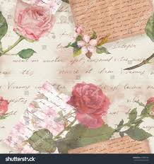 Flower Design For Scrapbook Vintage Aged Paper Hand Written Letters Stock Illustration