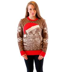 christmas sweaters wars chewbacca big with santa hat brown sweater