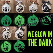 nightmare before and sally ornaments personalizes