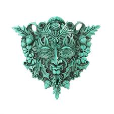 greenman green resin plaque by maxine miller pagan wiccan
