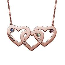 necklace birthstones intertwined hearts necklace with birthstones name necklaces