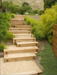 garden steps with wood garden stairs with wooden construction