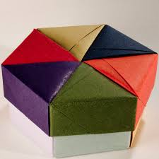 Paper Origami Box - decorative hexagonal origami gift box with lid 05 flickr