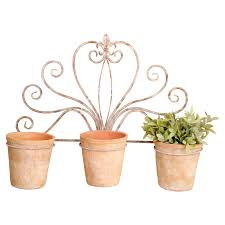 Wall Mounted Flower Pot Holder Esschert Design Aged Terracotta Square Pots Set Of 3 Hayneedle