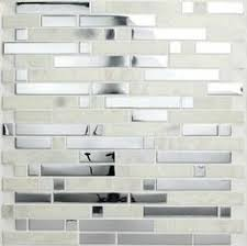 Stainless Steel And Crackled Glass Mosaic Mix EMTWMIXSM - Stainless tile backsplash