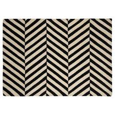 Black And White Zig Zag Rug Wool Black And White Herringbone Chevron Rug 70x130cm Home
