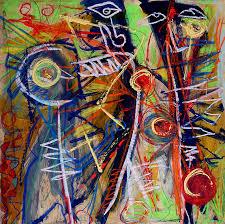 2ft by 2ft original outsider art art brut abstract primitive