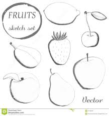 set of fruits freehand drawing stock vector image 42195944