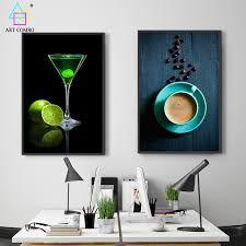 frameless picture hanging frameless canvas painting drinks coffee lime drawing home decor wall