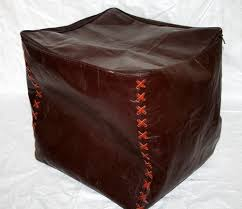 Leather Moroccan Ottoman by Handmade Genuine Brown Leather Ottoman Pouf Pouffe Foot Stool Bean