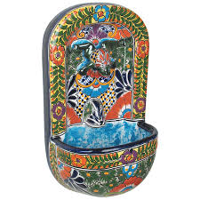 talavera wall fountain with frog