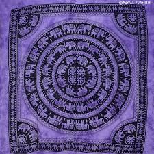 purple elephant mandala hippie tie dye dorm tapestry wall hanging