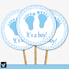 its a boy cupcake toppers gingham blue baby shower cupcake