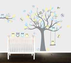 boys yellow owl wall decals nursery wall stickers