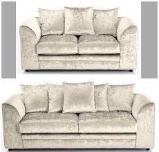 Velvet Sofa Set New Crushed Velvet Sofa Set 3 U0026 2 New Dylan Range Pearl Mink Or