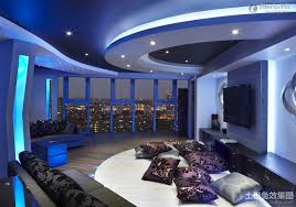 Living Room Lighting Chennai Minimalist Living Room With Gypsum Ceiling Blue Lighting Design