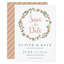 pink watercolor floral wreath save the date card zazzle