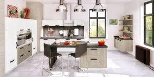 cuisines you cuisine façon bois avec îlot central coloris blanc et chêne