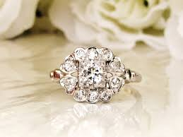 heart motif art deco engagement ring transitional cut diamond 0 79