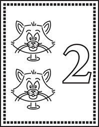 number 2 or two cats coloring page free printable coloring pages