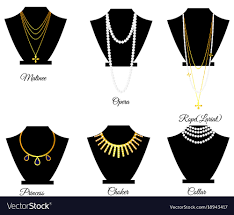 necklace types images Types of necklaces by length royalty free vector image jpg