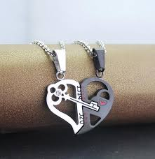 heart key lock necklace images Evermarker key and lock heart couple necklaces titanium evermarker jpeg