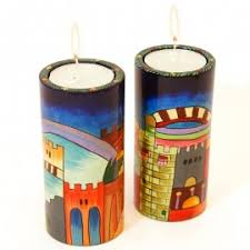 set of four candle holders hand painted by emanuel george kouz