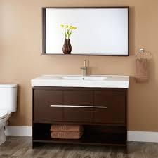 wood open shelf vanity signature hardware
