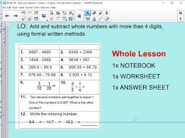 whole lesson adding u0026 subtracting 4 digits or more addition